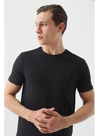 TWN Slim Fit Düz T-Shirt Siyah
